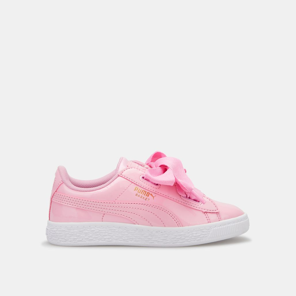 PUMA Kids' Basket Heart Patent Shoe (Baby and Toddler)