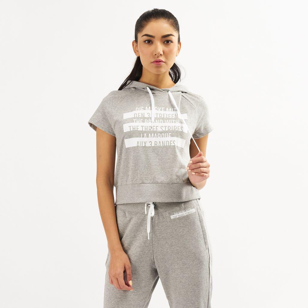 adidas Women's Sport ID Printed Crop Hoodie