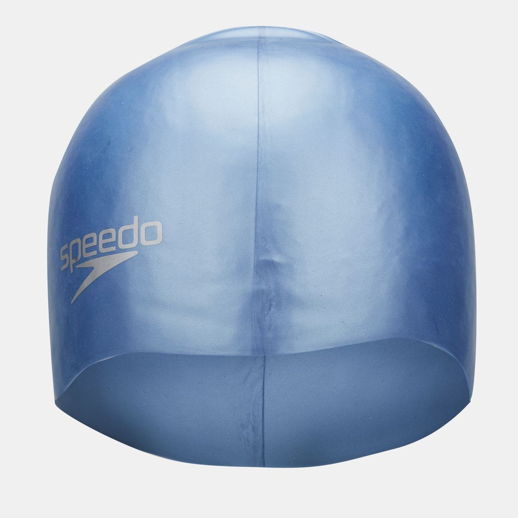Speedo Plain Moulded Silicone Swimming Cap - Grey