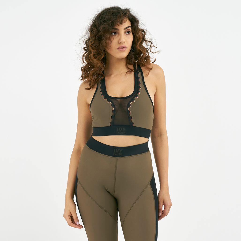 IVY PARK Women's Lace Up Mesh Insert Sports Bra