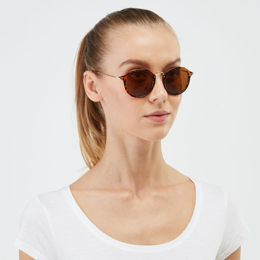 Jeepers Peepers Round Gold Tortoiseshell Sunglasses - Brown