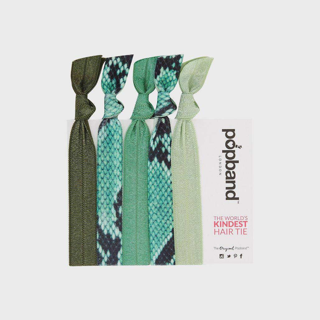 Popband Serpentine Hair Tie - Pack of 5 - Green