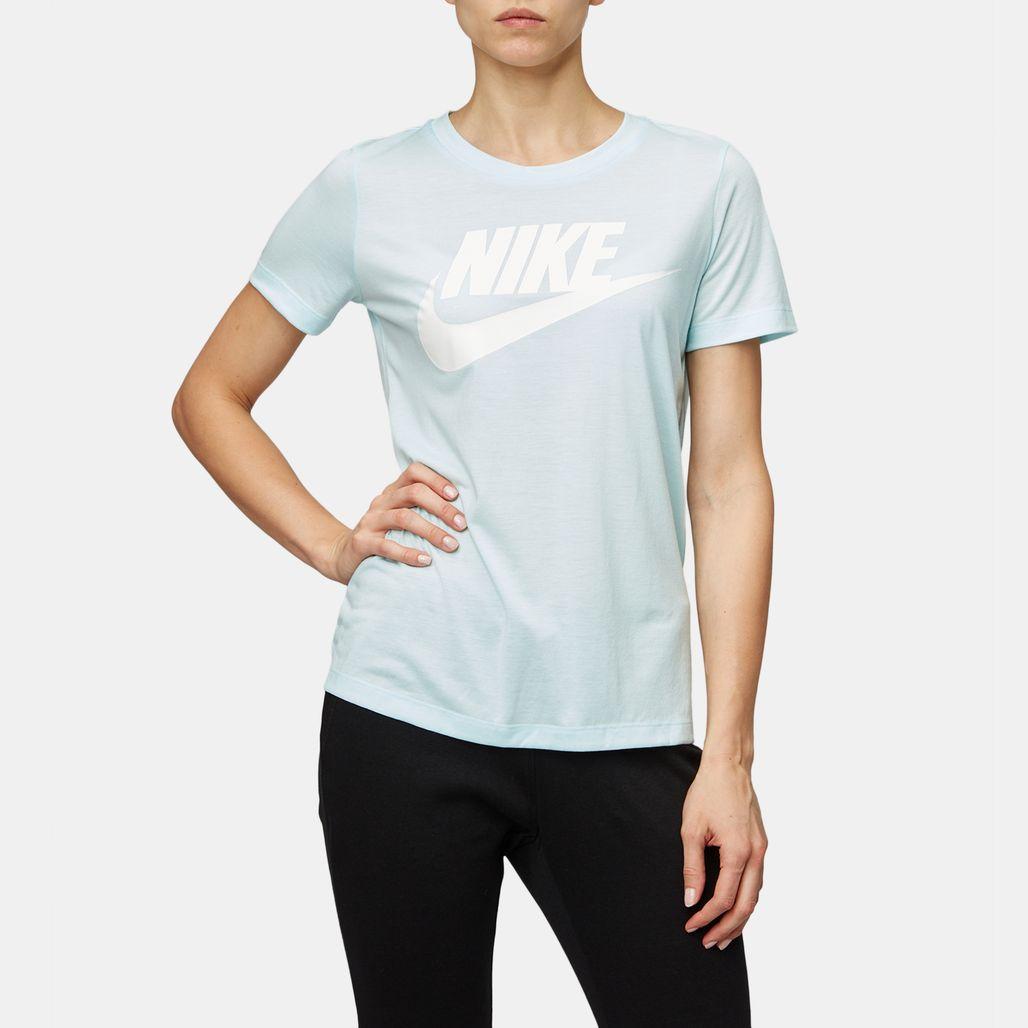 10d5c607e12 Shop Blue Nike Sportswear Essential Short-Sleeve T-Shirt for Womens ...