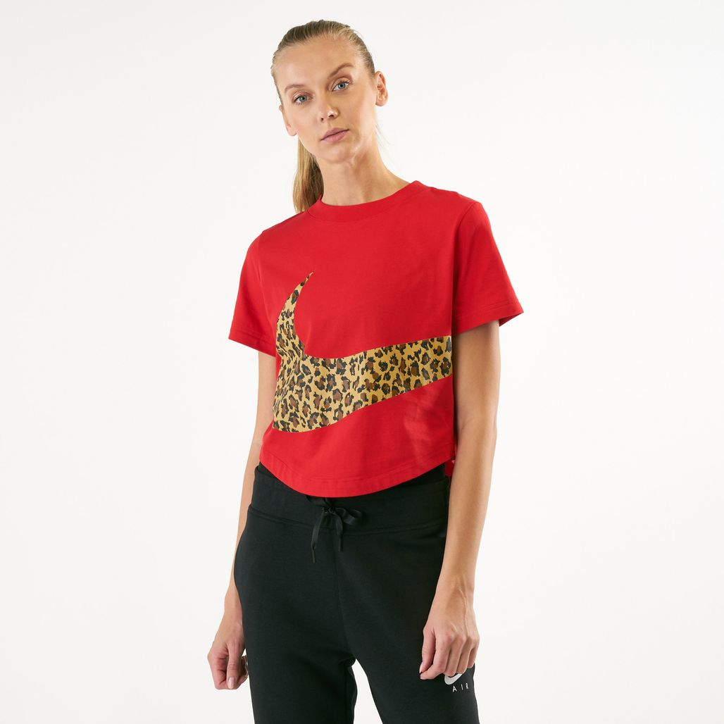Nike Women's Sportswear Cropped Animal Print T-Shirt