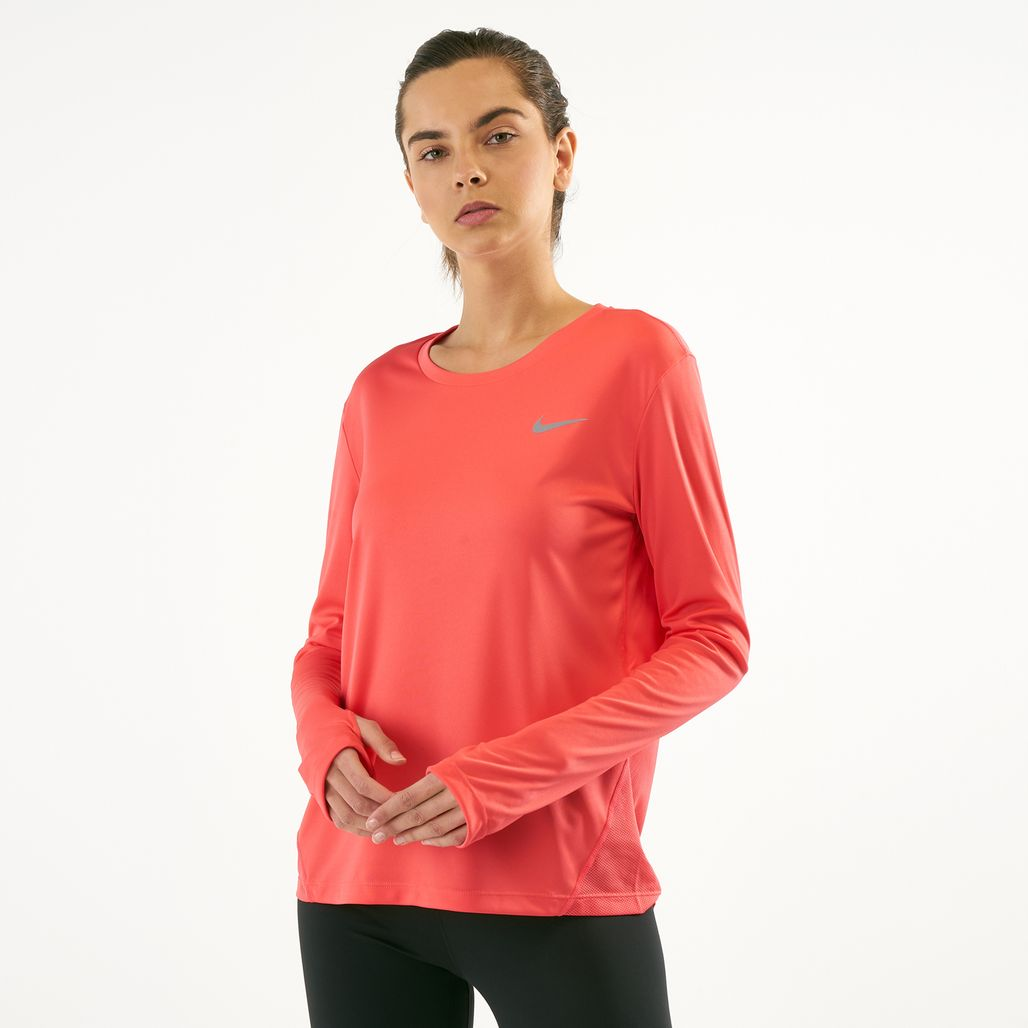 4d813902e4454 Nike Women's Dri-FIT Miler Long Sleeve Top | T-Shirts | Tops ...