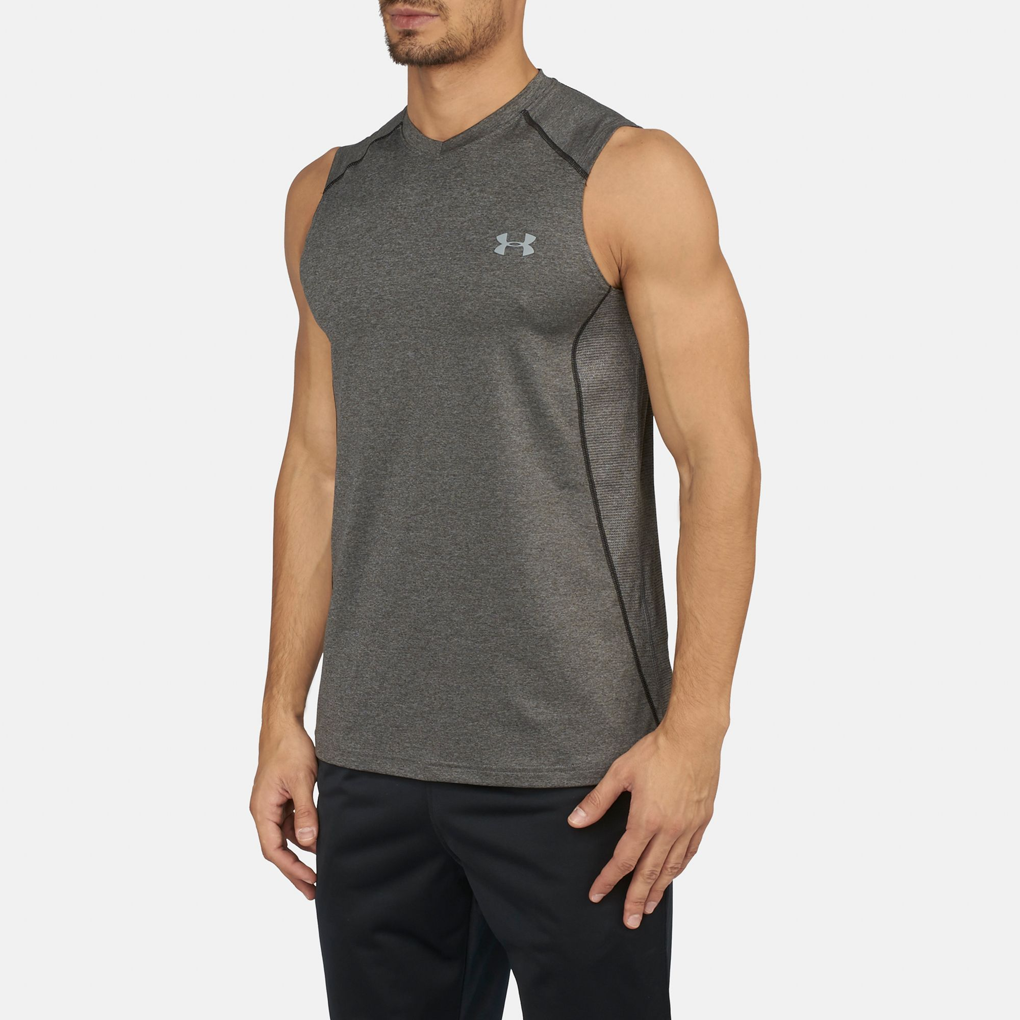 ccdcf49cd77d7 Shop Grey Under Armour Raid Sleeveless T-Shirt for Mens by Under ...