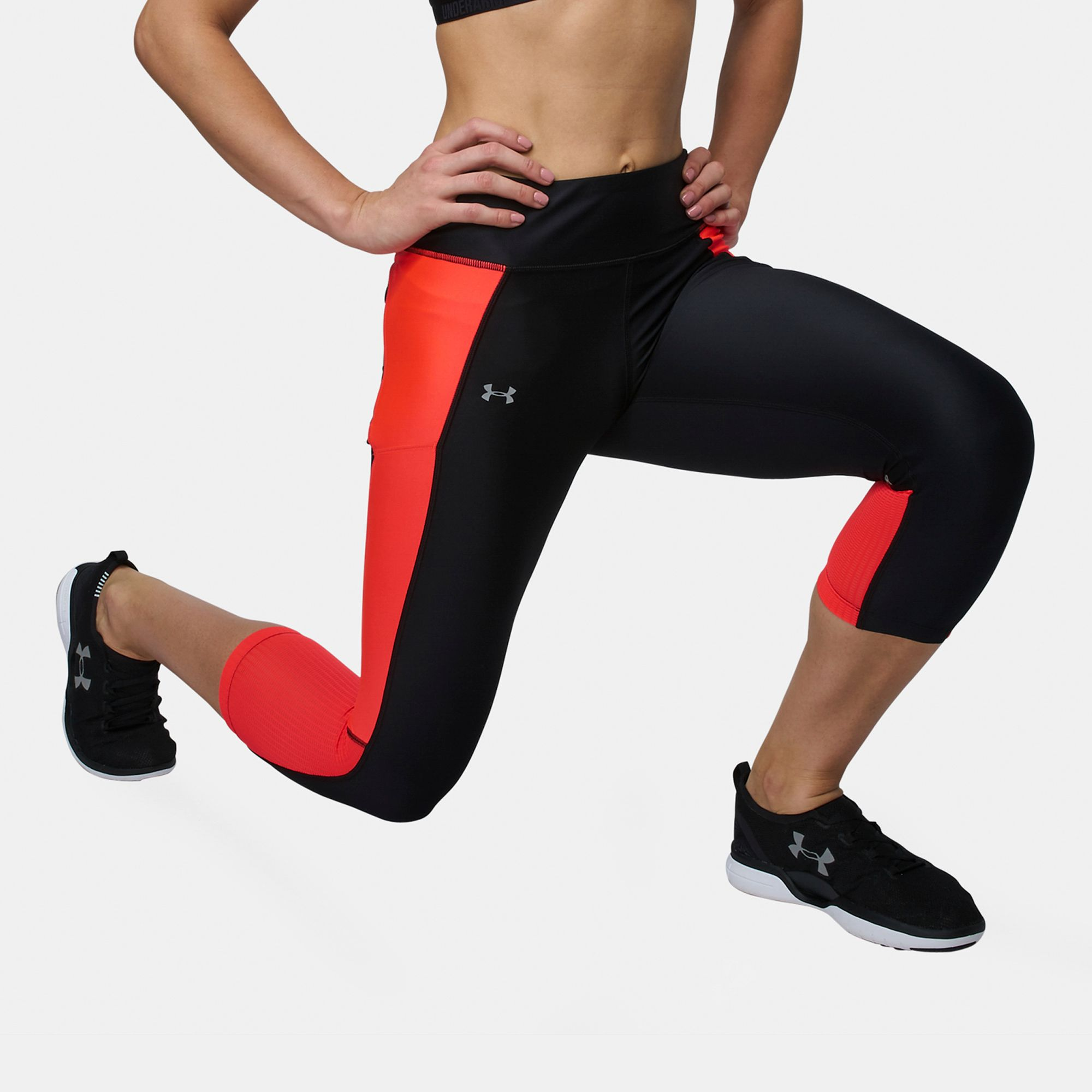 e62a0618a7c70f Shop Black Under Armour Fly By Running Capri Leggings for Womens by ...