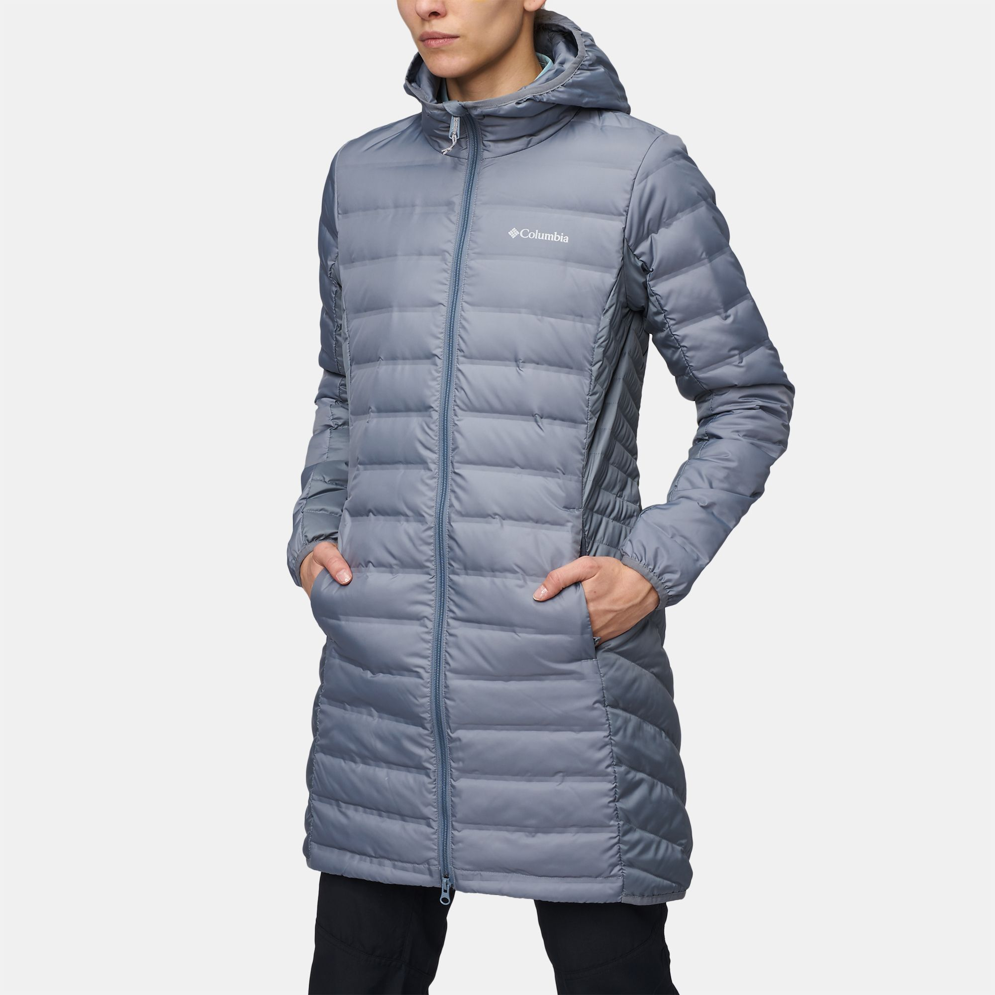 shop grey columbia lake 22 long hooded down jacket for womens by