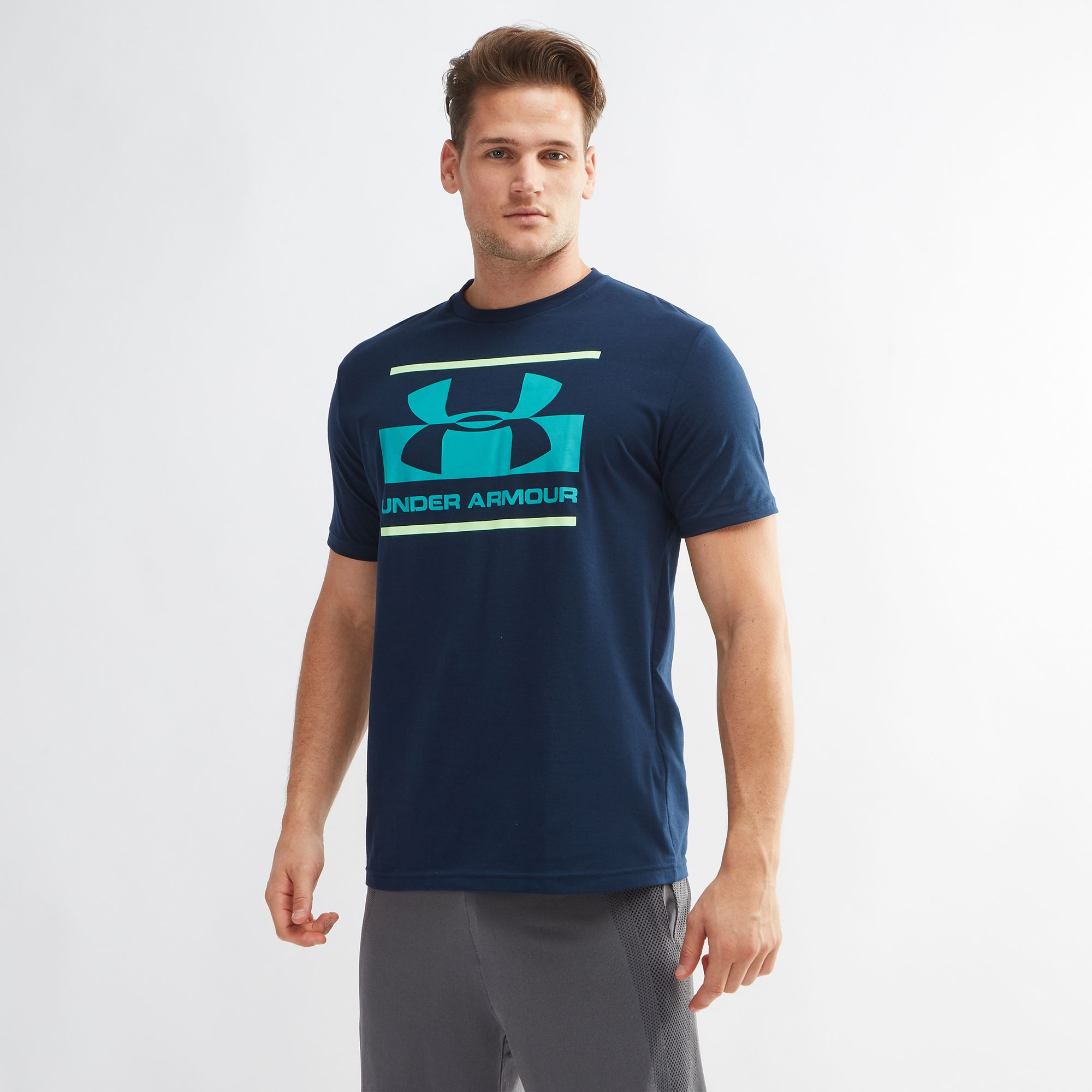 c33890ef Shop Blue Under Armour Blocked Sportstyle Logo T-Shirt for Mens by Under  Armour | SSS