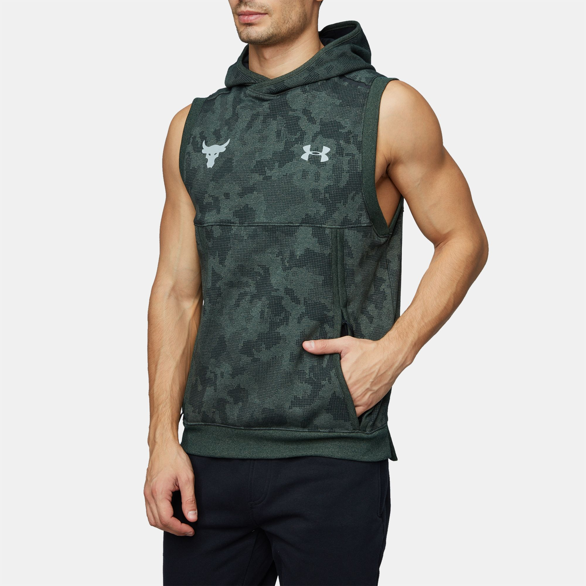 398e3f96b85 Under Armour Project Rock UA Threadborne Fleece Sleeveless Hoodie ...