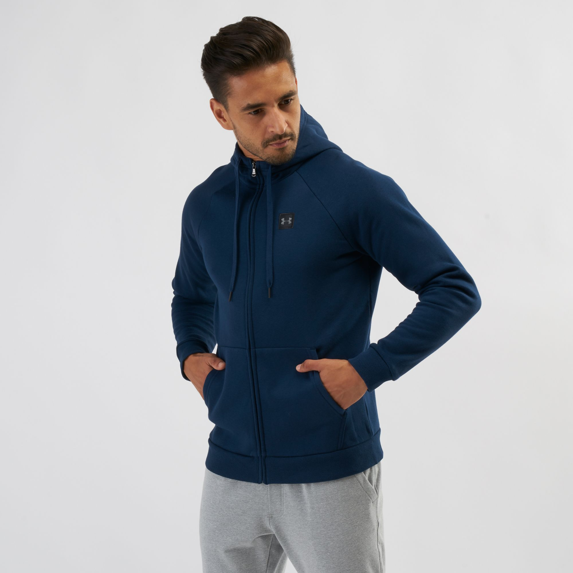 e8cced3c5 Shop Blue Under Armour Rival Fleece Full Zip Jacket   Hoodies ...