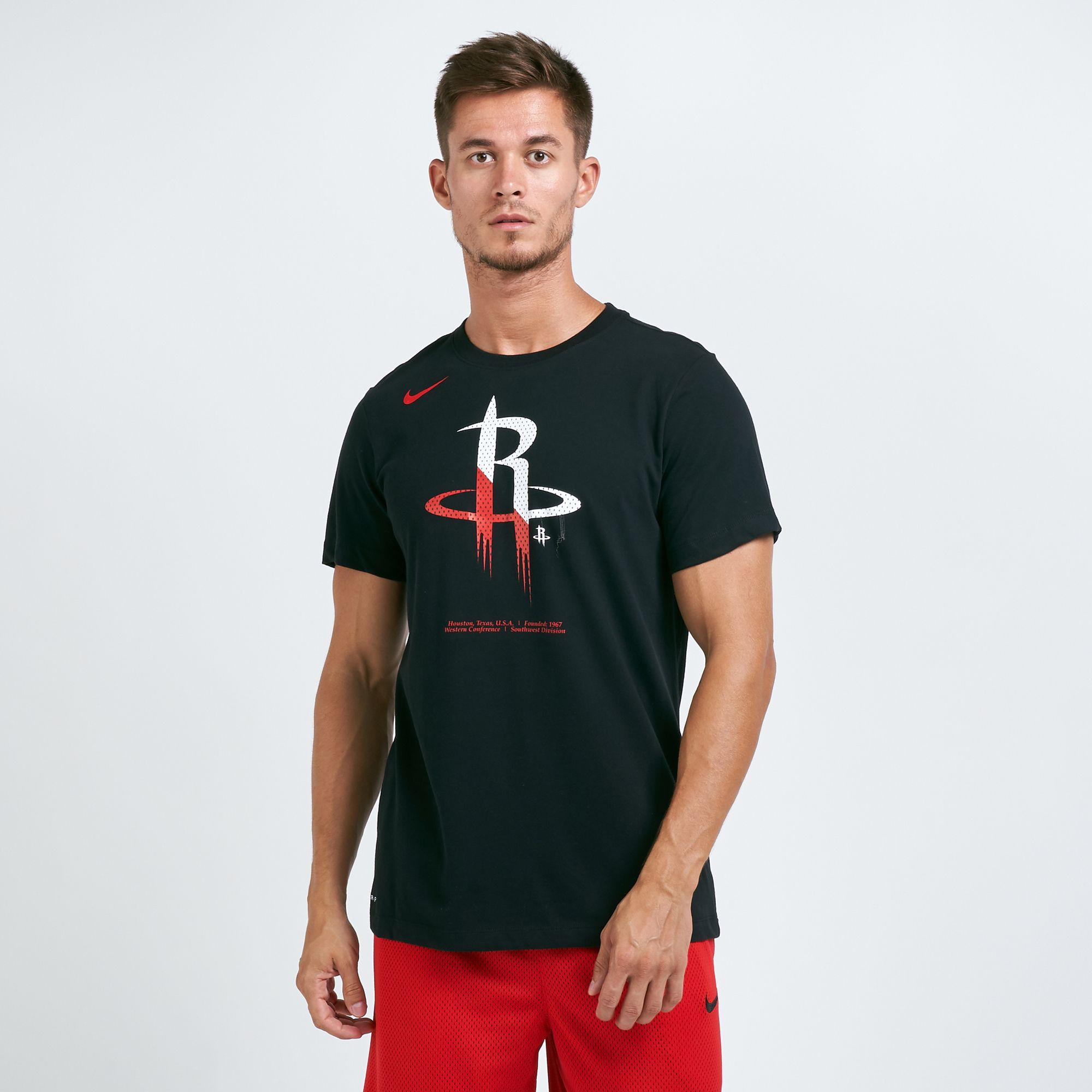 official photos 1da77 f3f25 Nike Men's Houston Rockets Dri-FIT Split Logo T-shirt