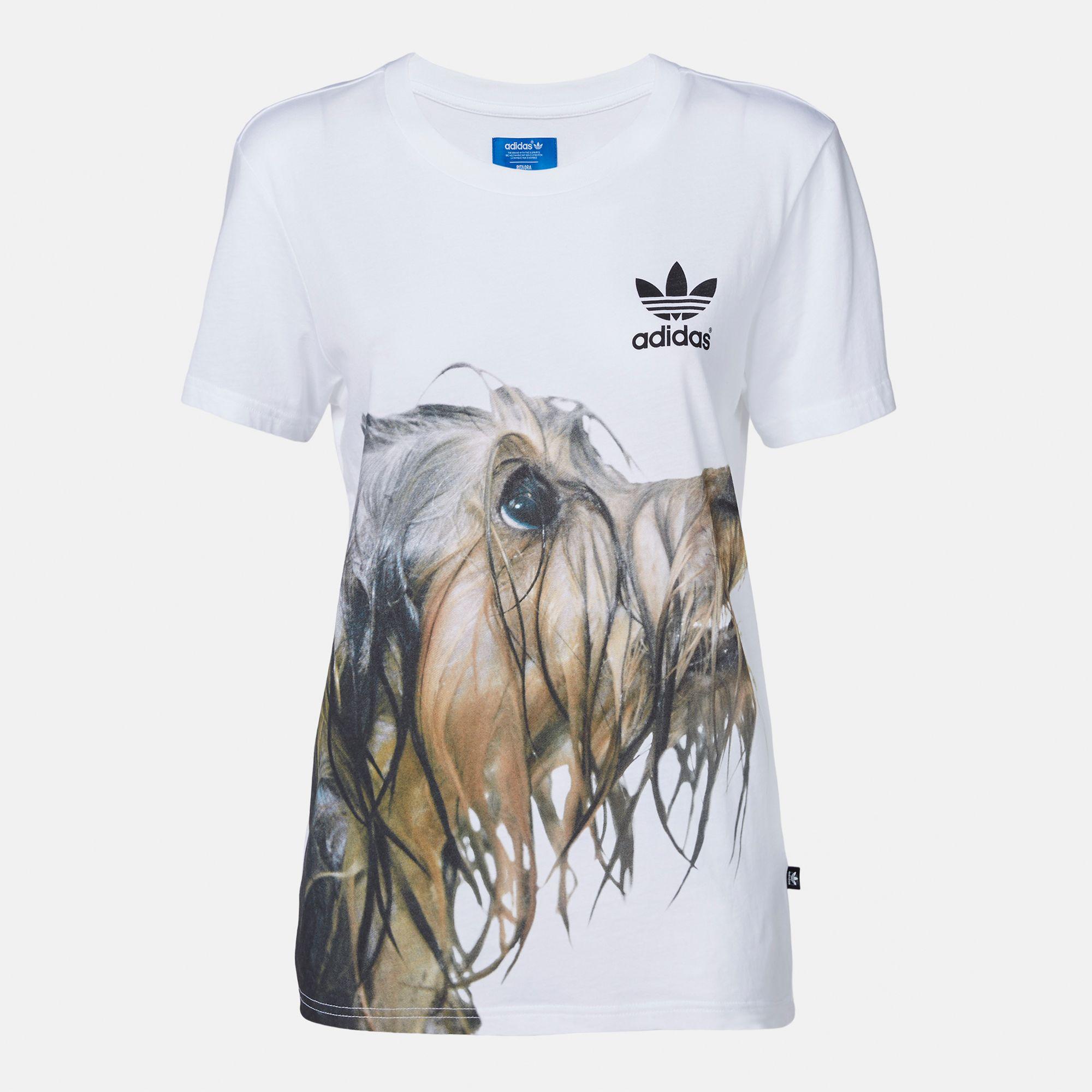 384873438 Shop White adidas Rita Ora Dog Print T-Shirt for Womens by adidas ...