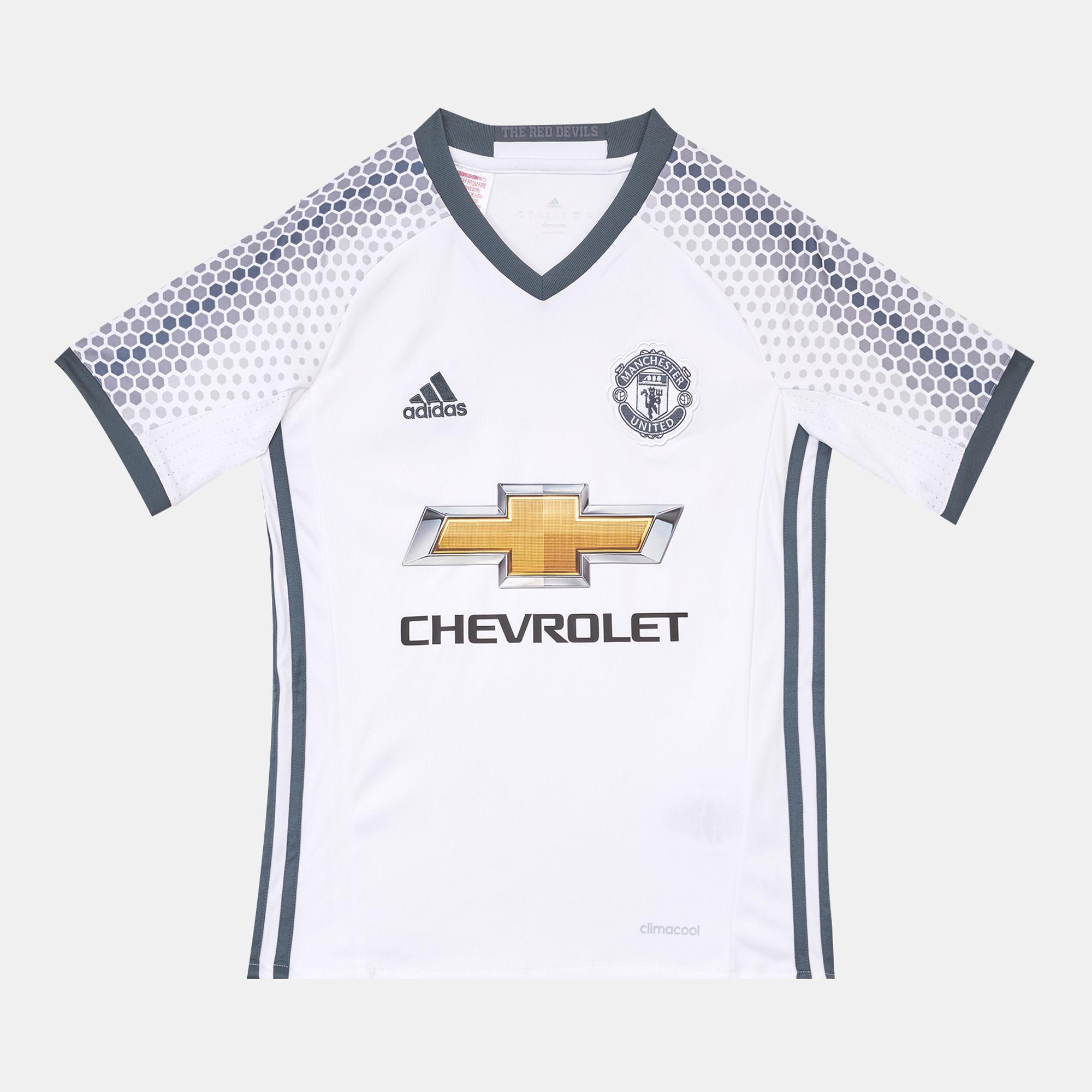 100f7c224b2 Shop White adidas Kids  Manchester United FC Replica Third Jersey ...