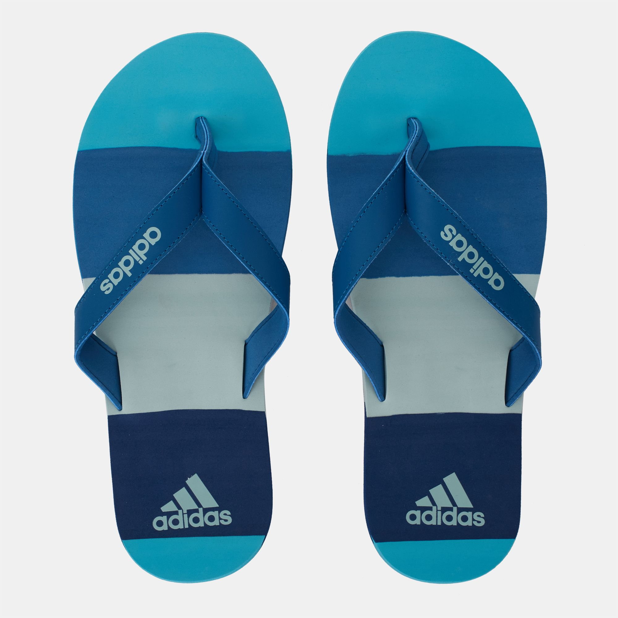 online store 60056 1f0ff Shop Blue adidas Eezay Striped Thong Flip-Flops for Mens by