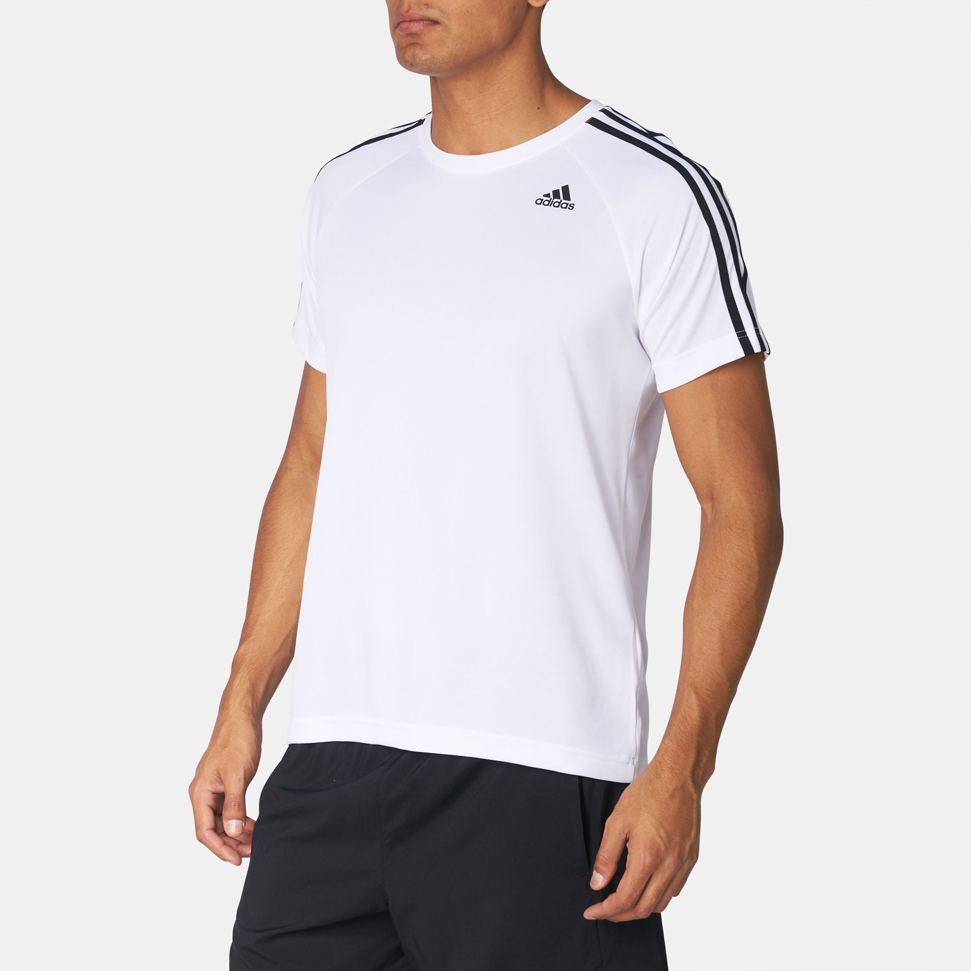 d18ba82c62fef3 Shop White adidas D2M 3-Stripes T-Shirt for Mens by adidas