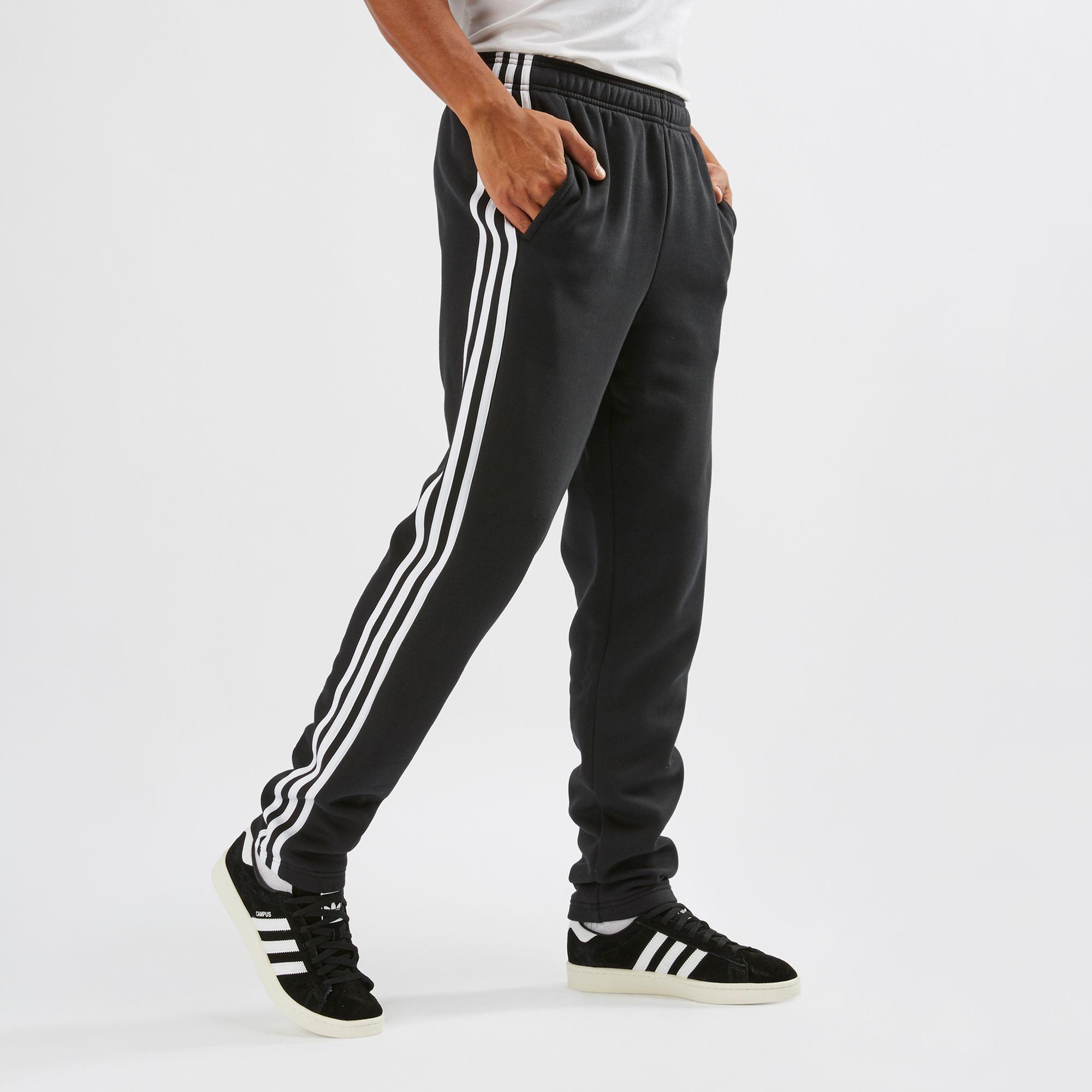 adidas 3 stripe fleece pants men's