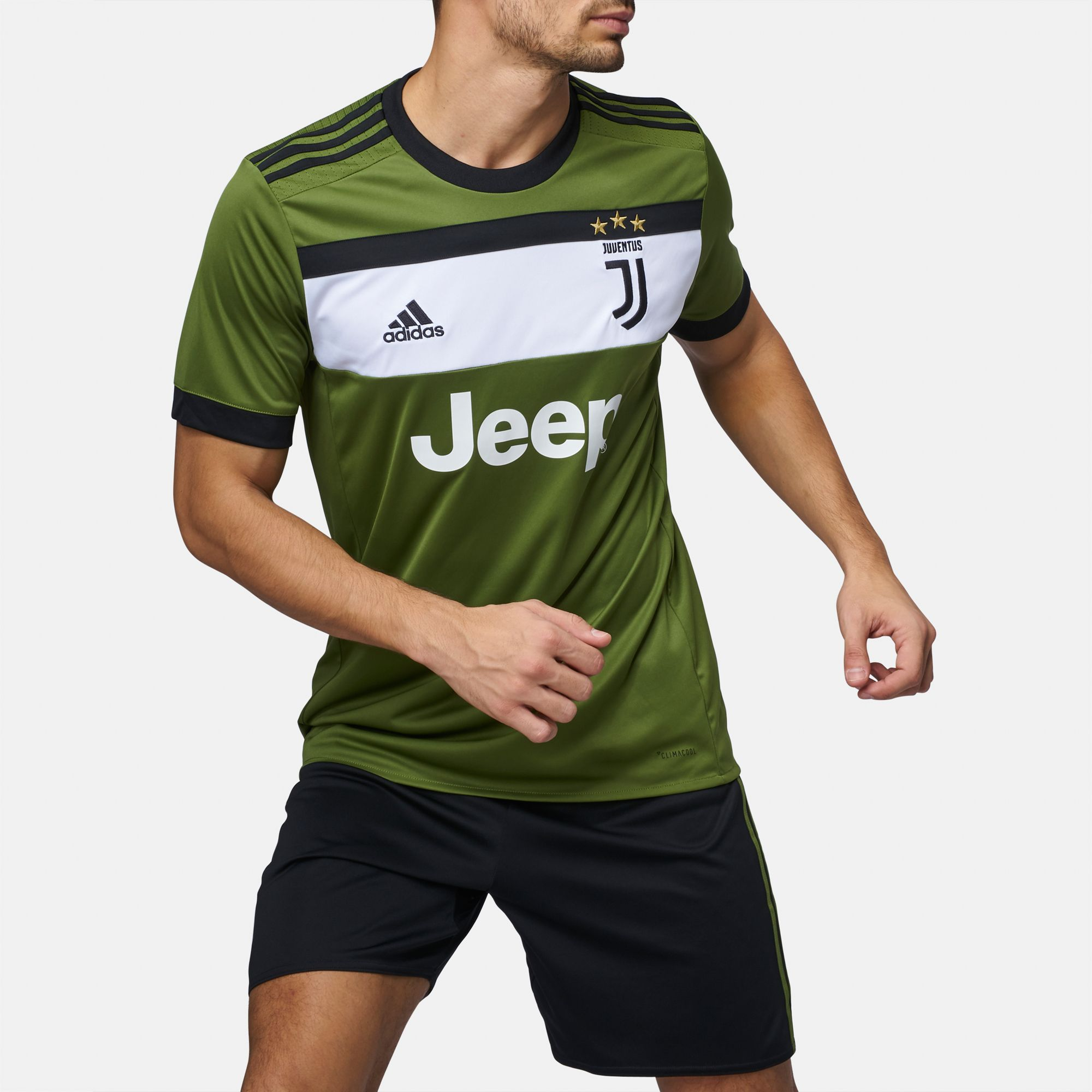 adae48b9b49 Shop Green adidas 2017 18 Juventus Replica Third Jersey for Mens by ...