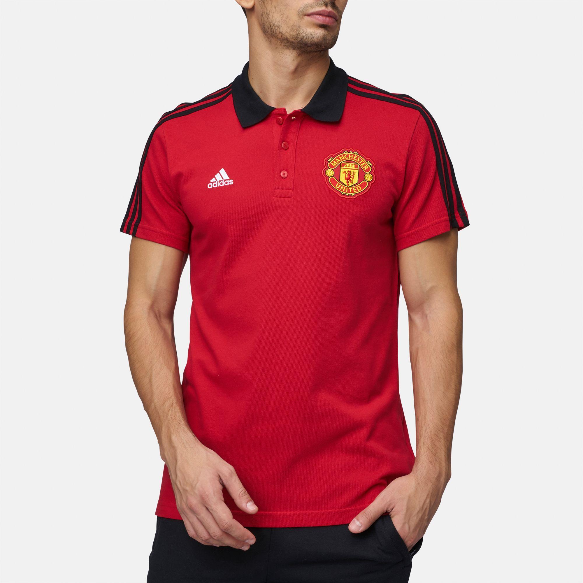 b7e7897e643 Shop Multi adidas Manchester United 3-Stripes Polo T-Shirt for Mens ...
