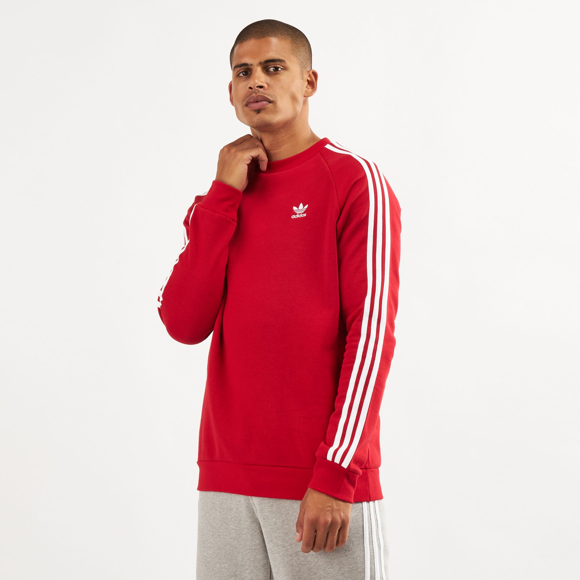 adidas Originals 3 Stripe Crew Neck Sweatshirt   Asos adidas