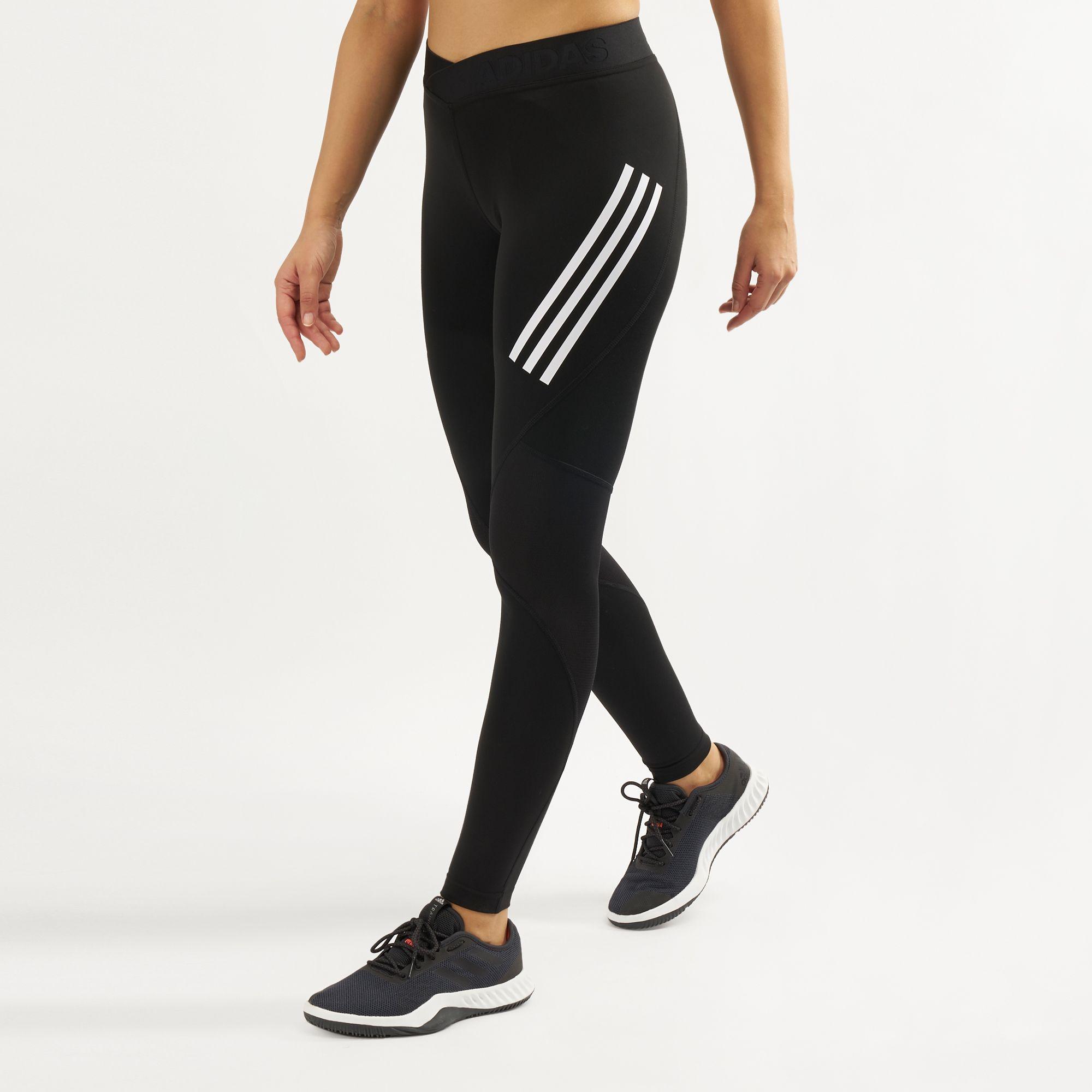 40c13ae6162 Adidas WoMen's Alphaskin Sport 3-Stripes Leggings   Full Length ...