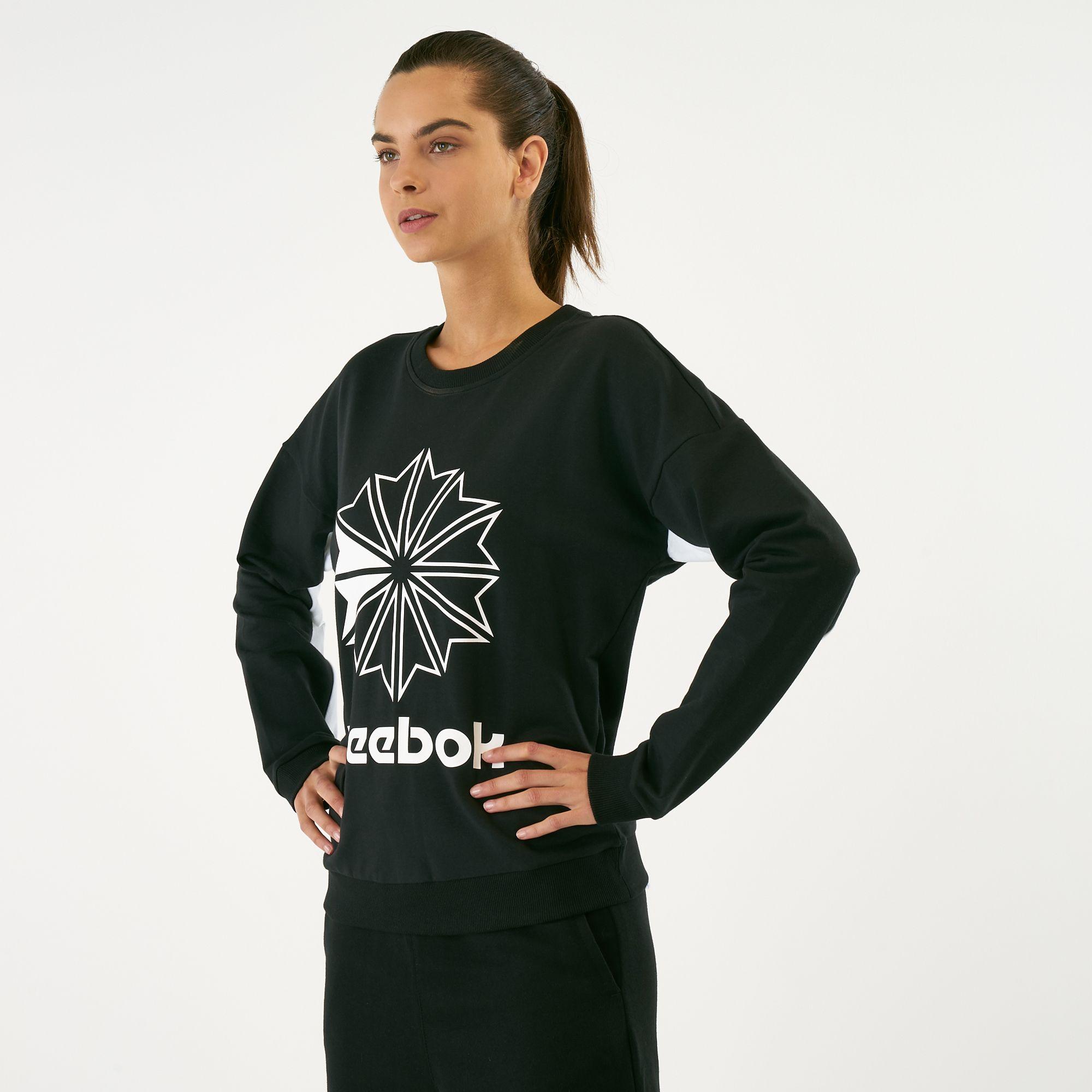 a43965f77d274 Reebok Women's French Terry Classics Big Logo Crew Sweatshirt ...