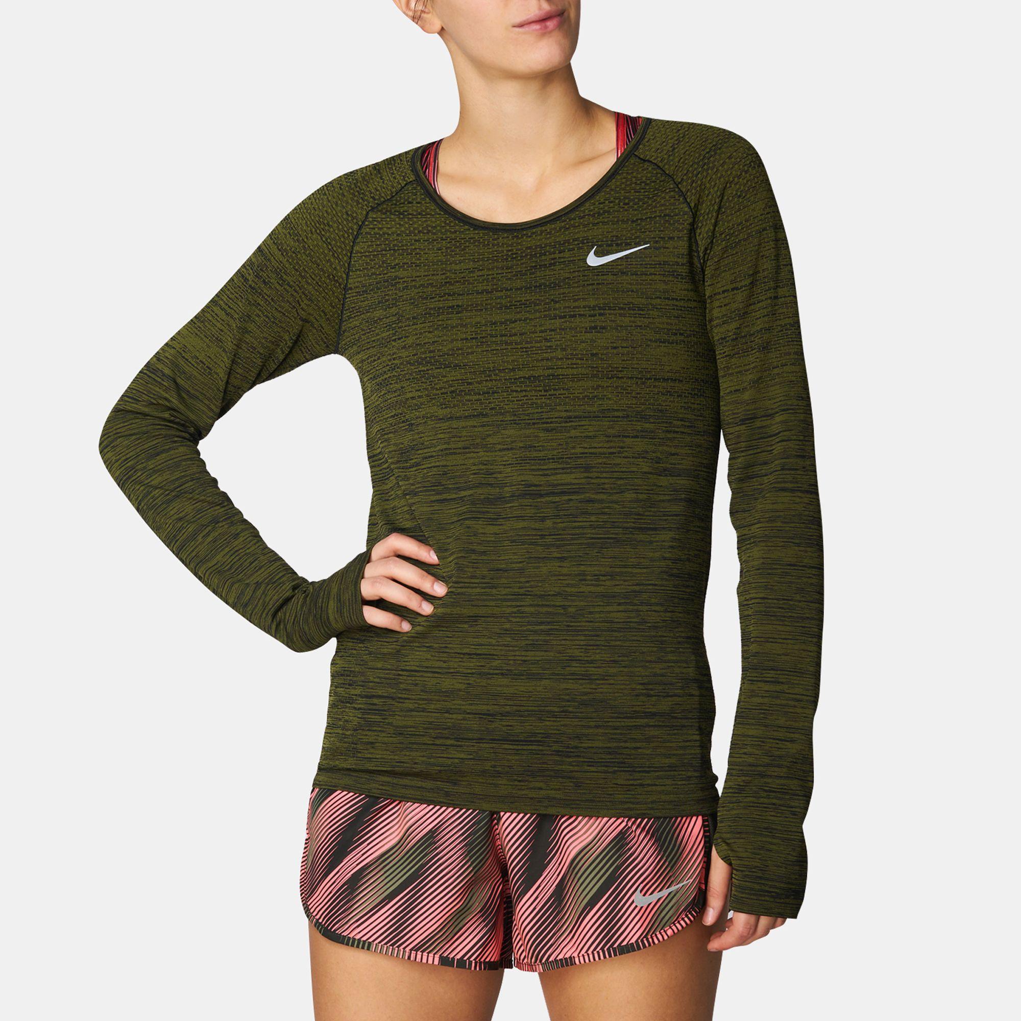 5cf702257f8b Shop Green Nike Dri-FIT Knit Long Sleeve Running T-Shirt for Womens by Nike