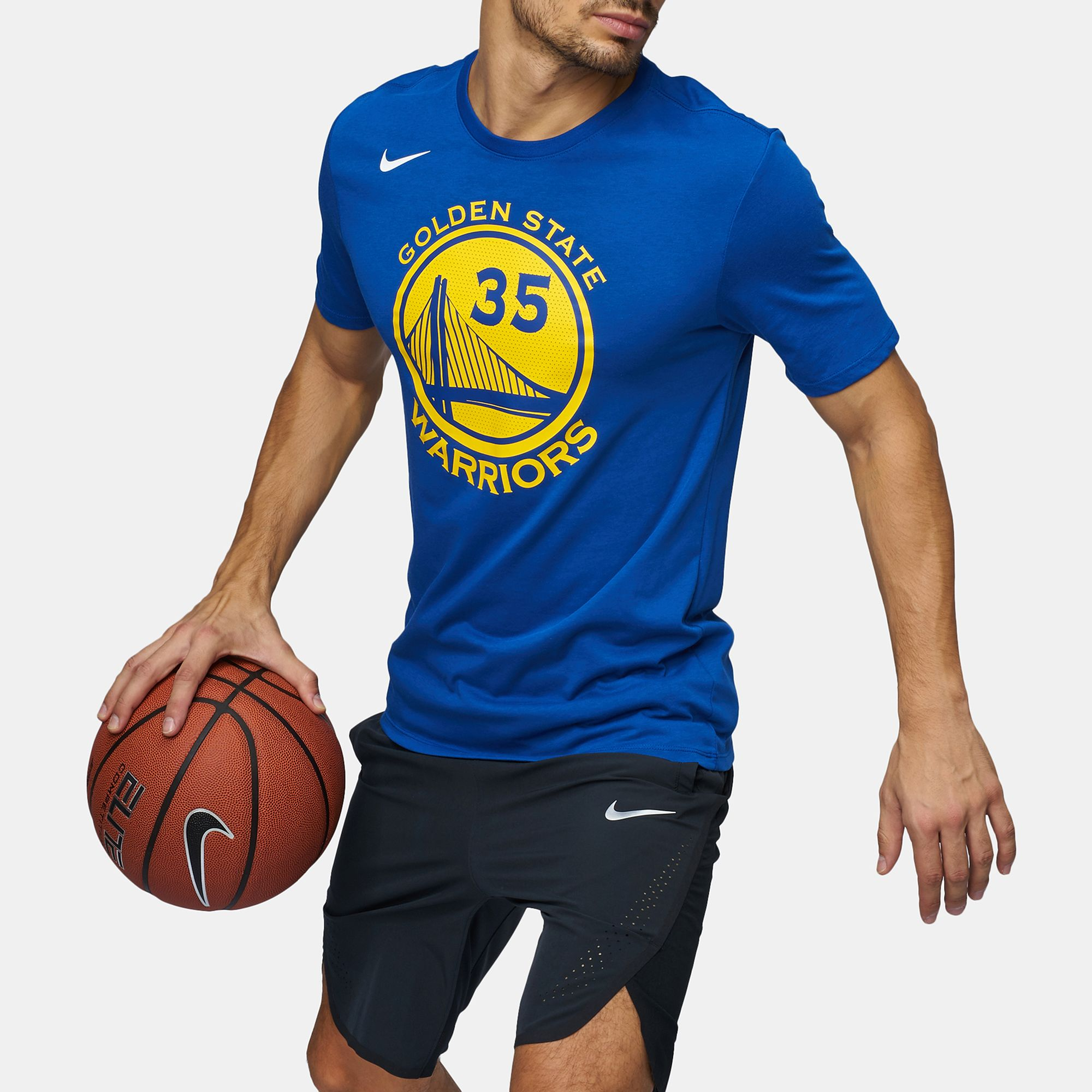 a912863fd7c Shop Blue Nike NBA Golden State Warriors Kevin Durant Dry T-Shirt ...