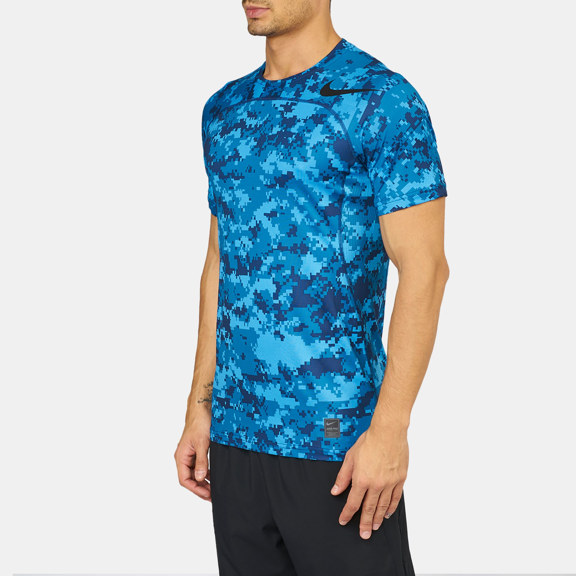 8732bd6a Shop Blue Nike Pro HyperCool Digi Camo Training T-Shirt for Mens by ...