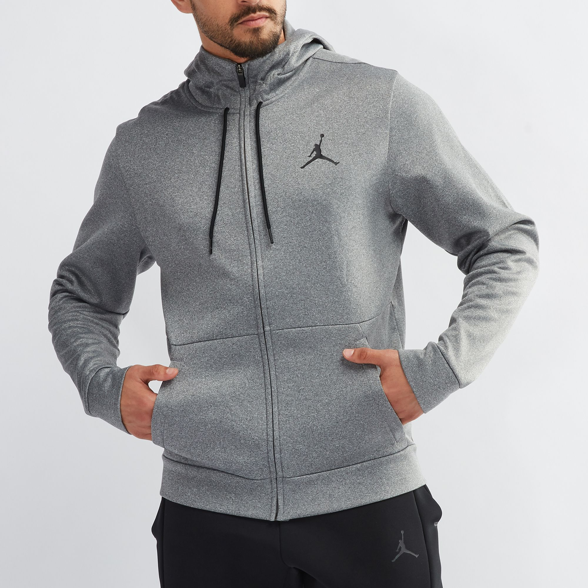 b7304e94e717 Shop Grey Jordan Therma 23 Alpha Full-Zip Basketball Hoodie for Mens ...