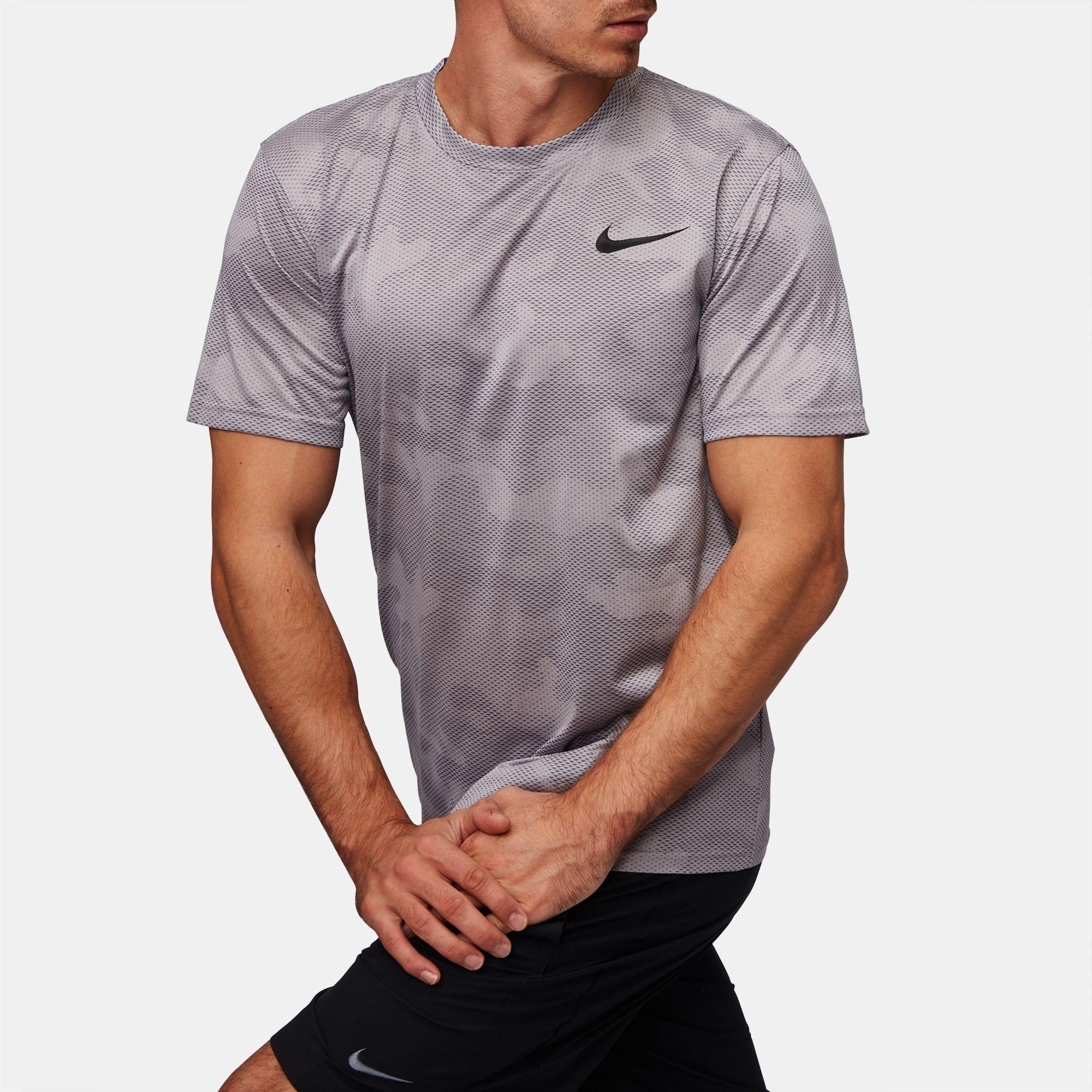 70df9094af48 Shop Grey Nike Dry Legend Camo Training T Shirt for Mens by Nike 1