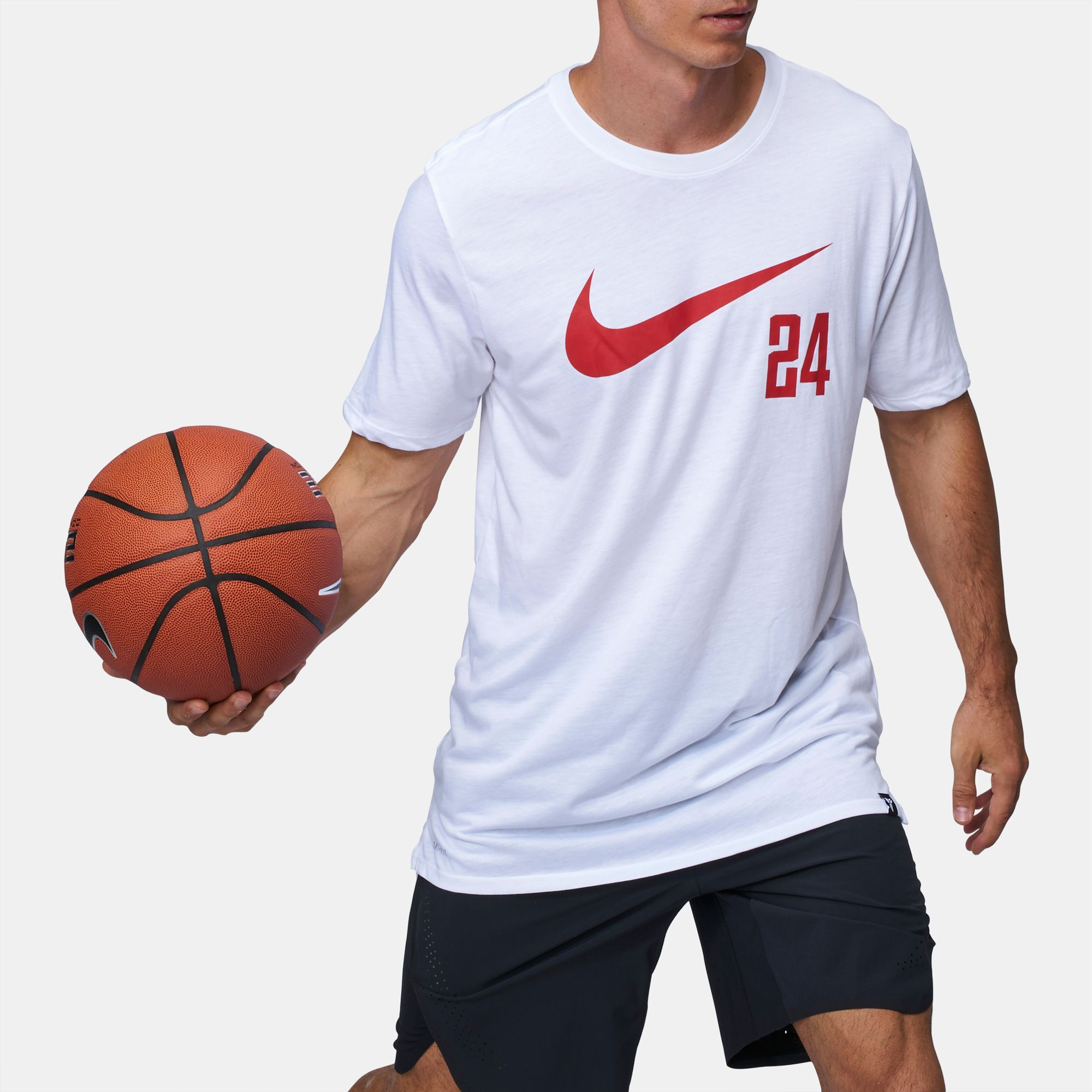 cf0cd0abd Shop White Nike Dry Kobe Swoosh 24 T-Shirt for Mens by Nike | SSS