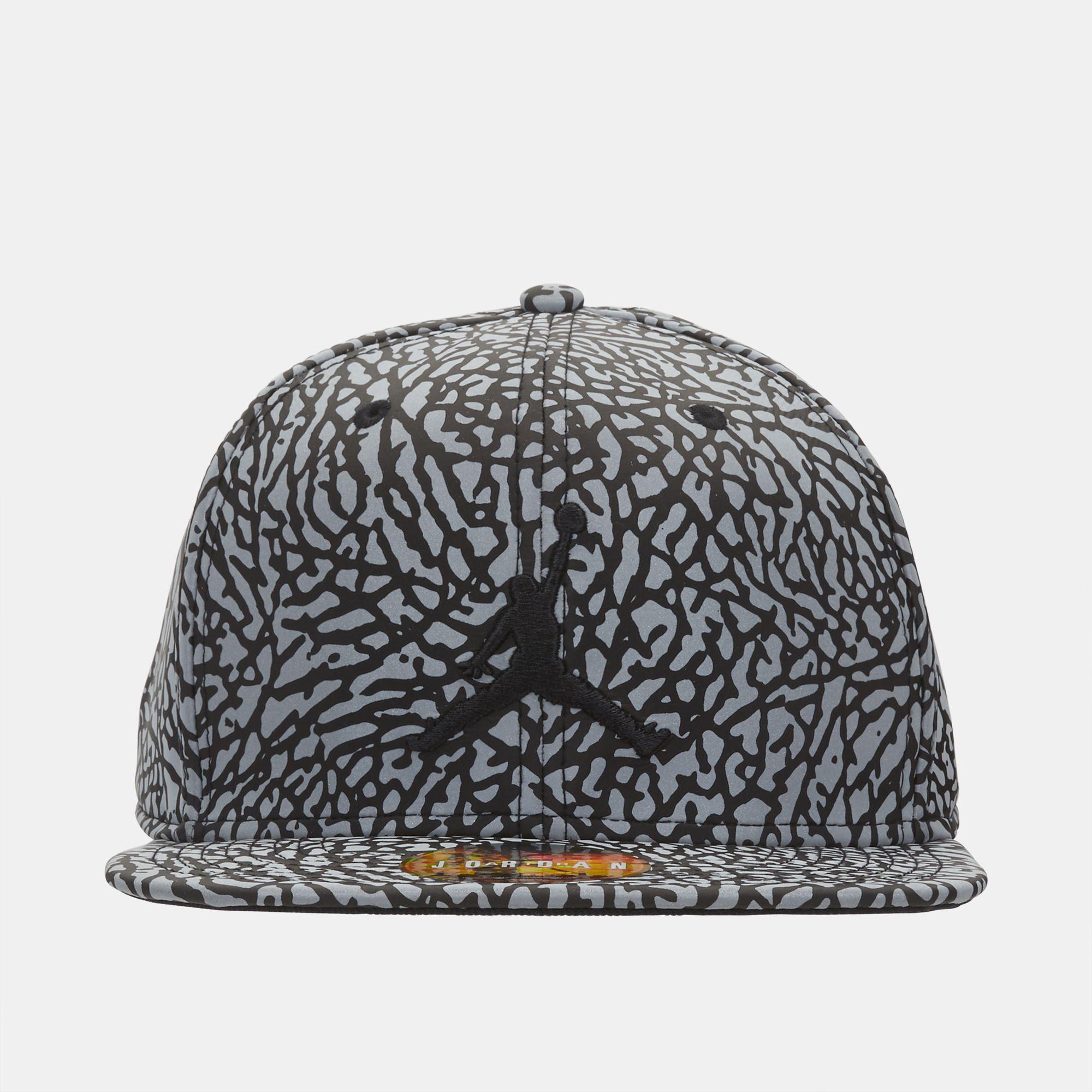 a5bb38065ef Shop Black Jordan Reflective Elephant Print Snapback Cap for Mens by ...