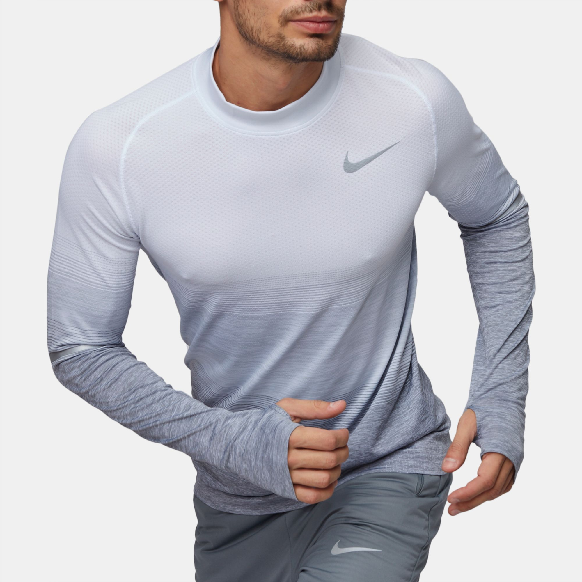 9fad8cf1 Shop Grey Nike Dri-FIT Knit Long Sleeve T-Shirt for Mens by Nike - 7 ...