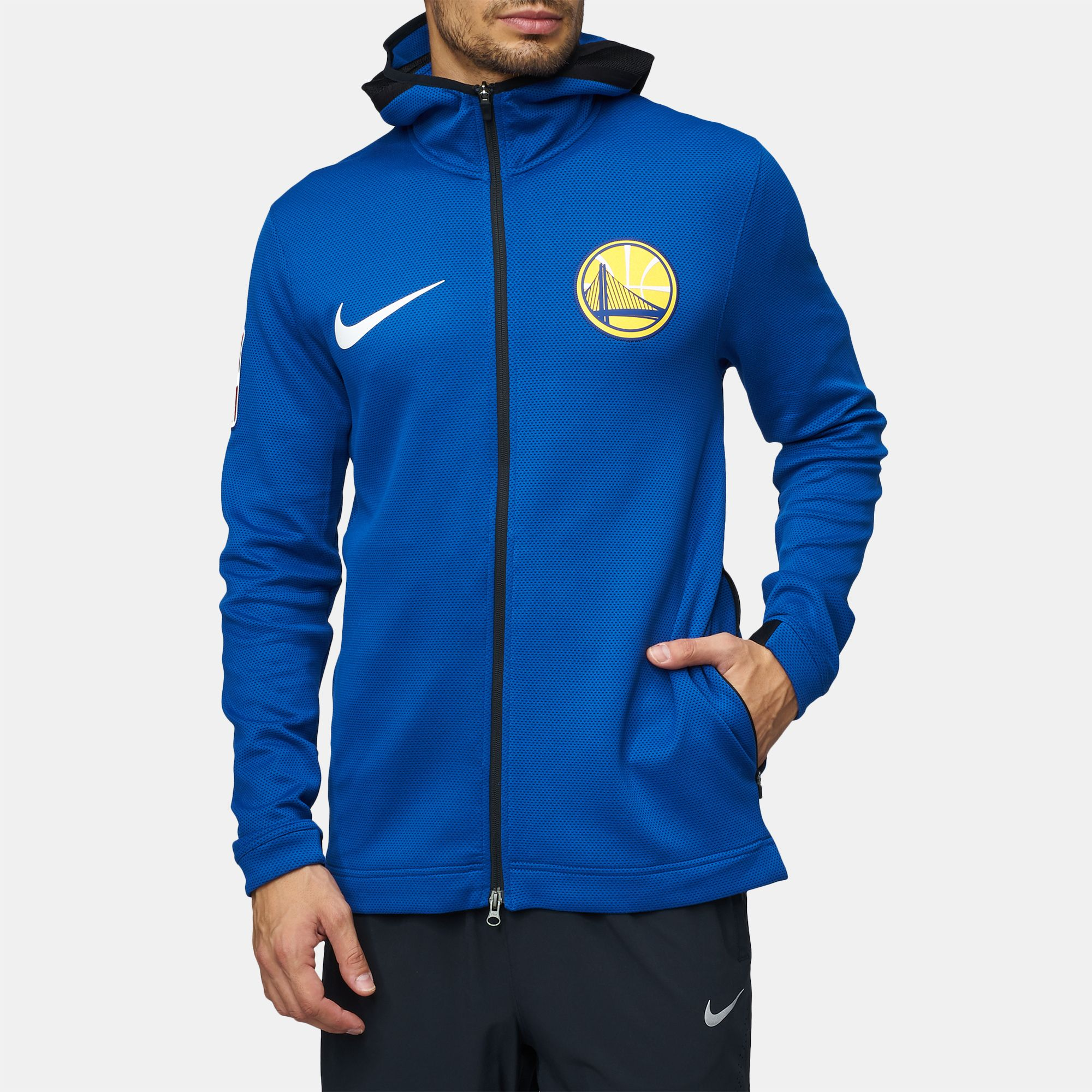 0837294d529 Shop Blue Nike NBA Golden State Warriors Therma Flex Showtime Full ...