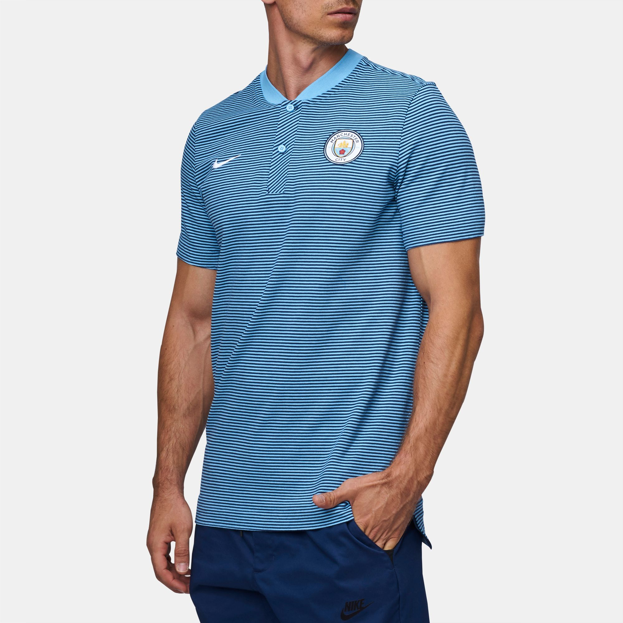 17e66805 Nike Manchester City FC Modern Authentic Grand Slam Polo T-Shirt - Blue