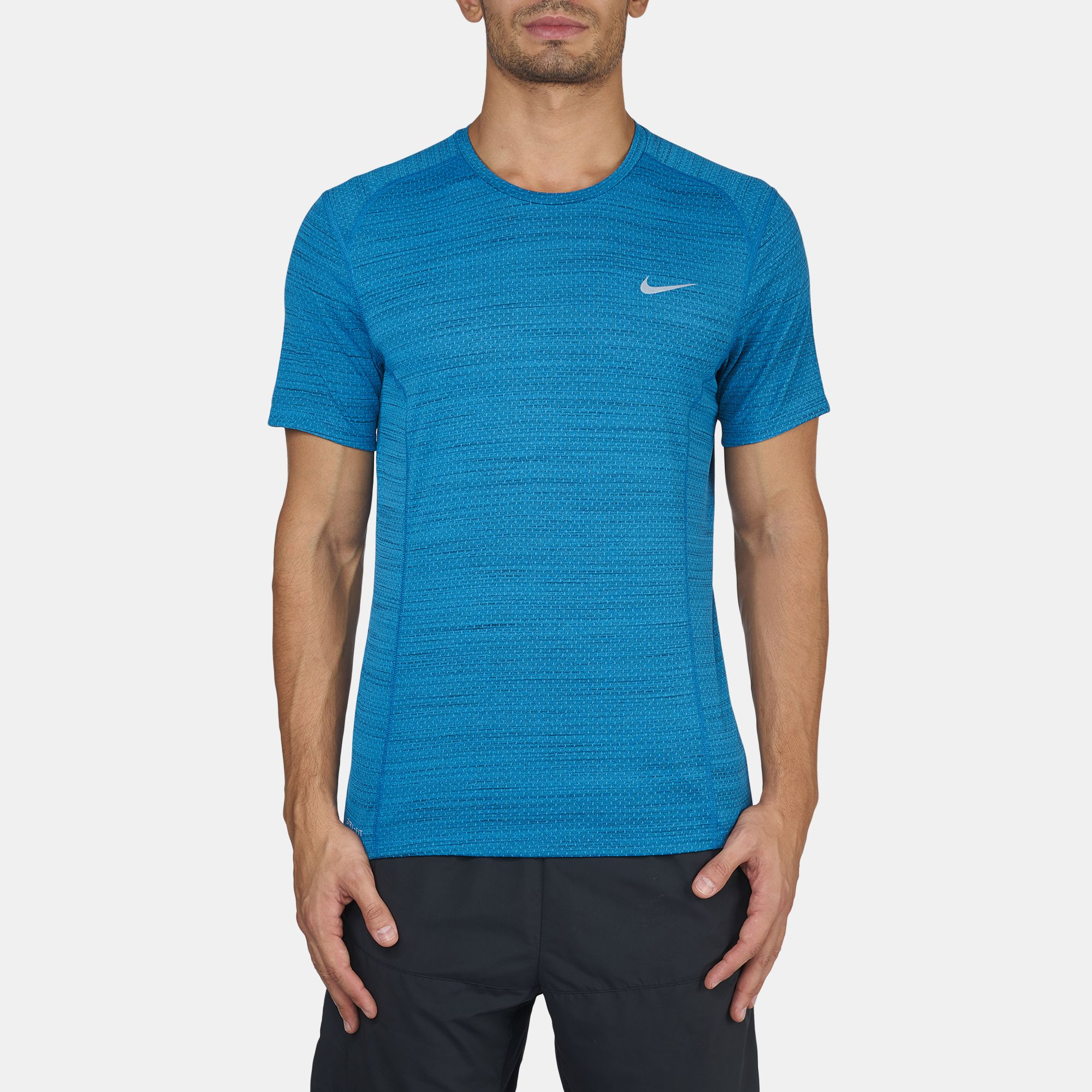 fe153a4da179 Shop Blue Nike Dri-FIT Cool Miler Short Sleeve T-Shirt for Mens by ...