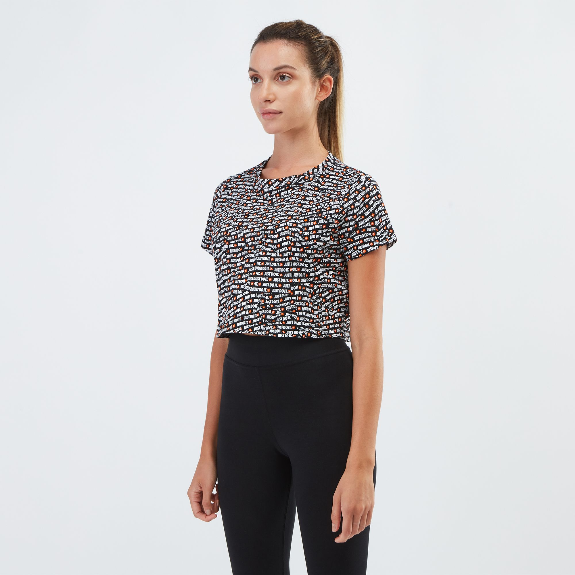 e3cbace469c Nike Sportswear All Over Print Just Do It Crop Top | T-Shirts | Tops ...