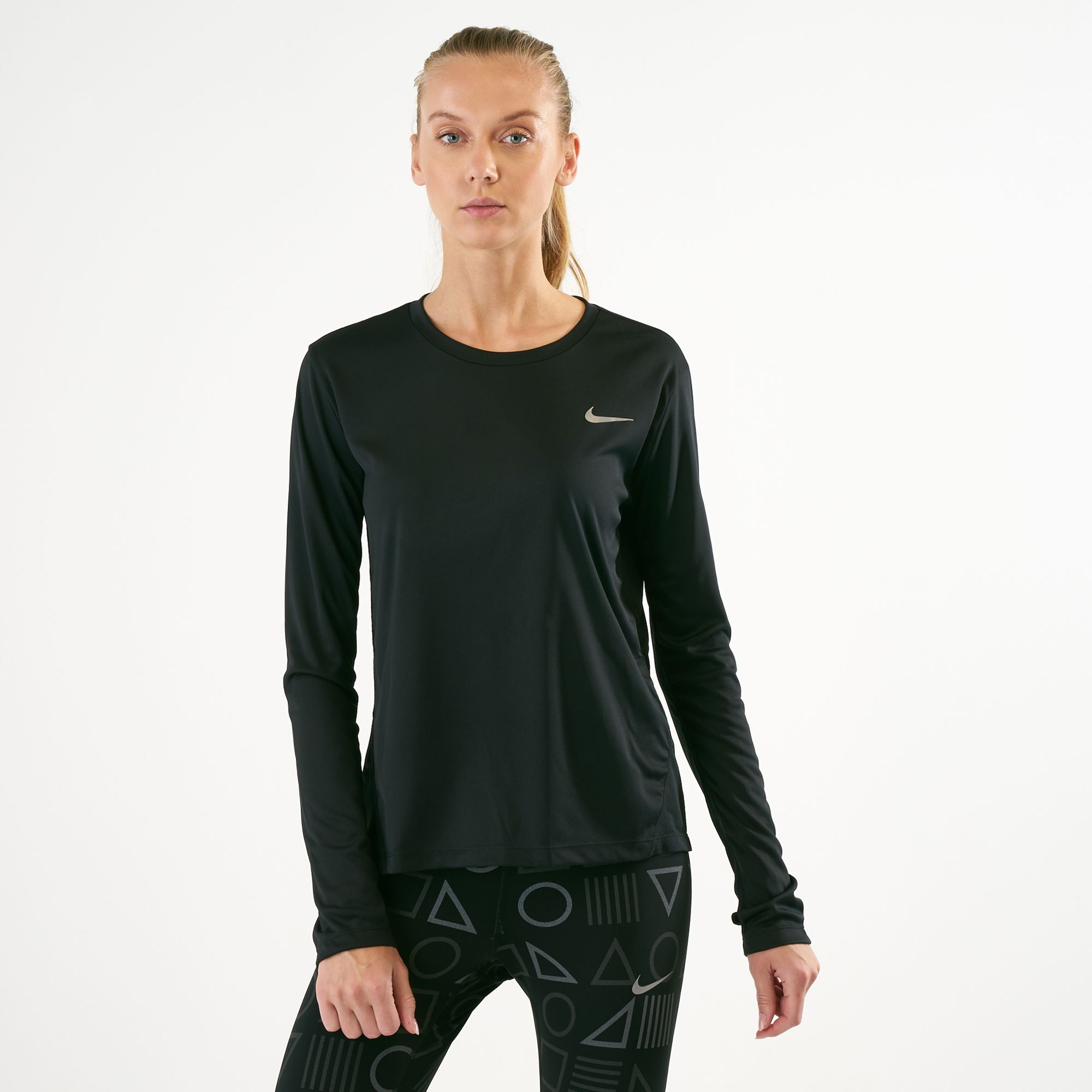 60684f2d6d069 Nike Women's Dri-FIT Miler Long Sleeve Top | T-Shirts | Tops | Clothing |  Womens | SSS