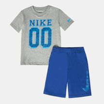Nike Kids' T-Shirt & Shorts Set رمادي