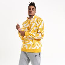 Nike Men's Sportswear Club 2 All-Over Print Hoodie Yellow