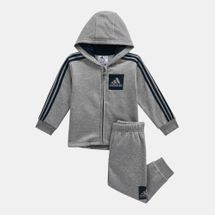 adidas Kids' 3-Stripes Hooded Fleece Jogger (Infants)
