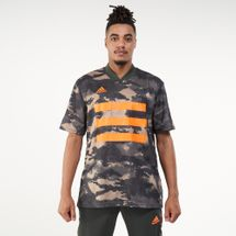 adidas Men's TAN All-Over Print Graphic Jersey