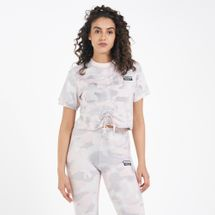 adidas Originals Women's Rouged Ruched Allover Print T-Shirt