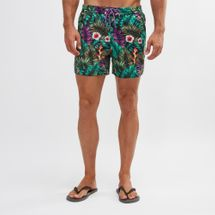 South Beach Black Floral Leaf Print Swim Shorts