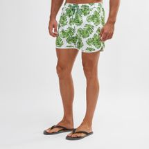 South Beach White And Green Palm Print Swim Shorts