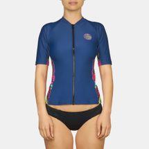 Rip Curl Warrior Belle Zip Thru UV Rash Vest T-Shirt, 481329
