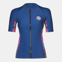 Rip Curl Warrior Belle Zip Thru UV Rash Vest T-Shirt, 481332