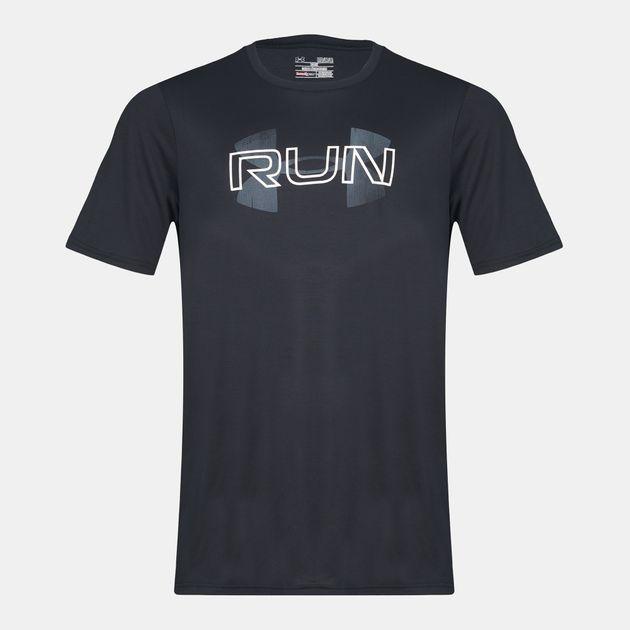 b884544ec8b Shop Black Under Armour™ Run Overlap Logo Running T-Shirt for Mens ...