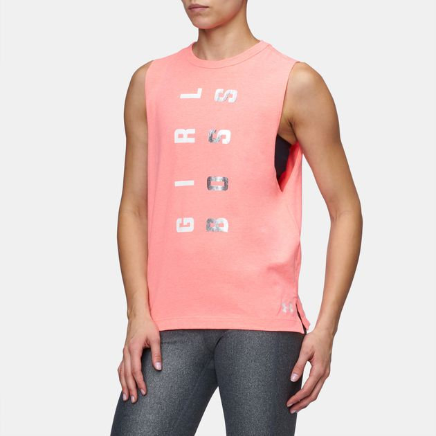 74e68b65 Shop Red Under Armour Girl Boss Muscle Tank Top for Womens by Under ...